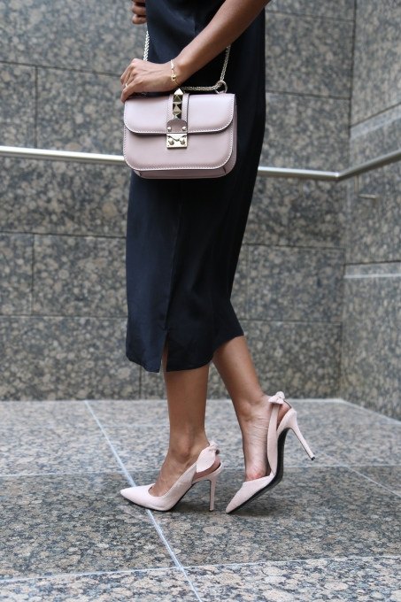 Nadya Hasan with light pink Medium Valentino bag from Selfridges